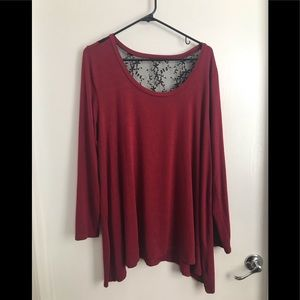 Long-sleeve super soft shirt with lace backing